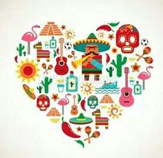 Mexico love - heart with set of vector illustrations. Free art print of Mexico love - heart with set of vector icons. Mexico Country, Mexican Independence Day, Mein Land, Mexico Art, Mexican Designs, Mexican American, Mexican Party, Thinking Day, Love Heart