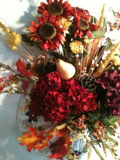 Very Large Statement Piece AUTUMN WREATH  in a white wicker basket. OOAK $85.00