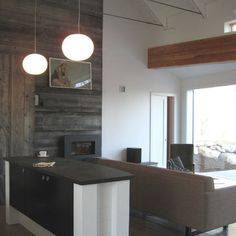 Living Room Grey Accent Wall barn board... this would look so good in the front hall