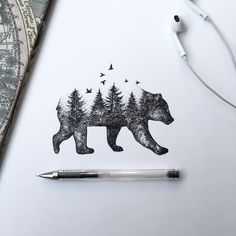 In his latest series of illustrations, Alfred Basha depicts a series of images where animals merge with the natural world: trees sprout into the silhouettes of foxes or squirrels, and a forest landscape rests atop a lumbering bear. Basha shares most of his sketches and completed drawings on Facebook