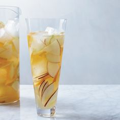 Instead of wine, this juicy sangria is made with hard cider spiked with lemon juice and apple brandy.