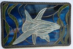 Stained Glass Tropical Panel - Underwater Shark Swimming