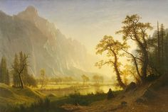Sunrise, Yosemite Valley Albert Bierstadt (American, Oil on canvas, x 133 cm, Amon Carter Museum of American Art. Landscape Art, Landscape Paintings, Oil Paintings, Albert Bierstadt Paintings, Hudson River School, Hieronymus Bosch, Yosemite Valley, Michelangelo, Western Art