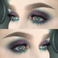 Makeup Looks For Green Eyes, Purple Eye Makeup, Green Makeup, Smokey Eye Makeup, Eyeshadow For Green Eyes, Eye Makeup For Hazel Eyes, Eyemakeup For Green Eyes, Red Eyeliner, Purple Smokey Eye