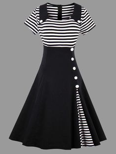 96668f5002e Striped Midi Plus Size Vintage Skater Dress They have some of the cutes  vintage style clothes