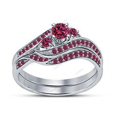 Wedding Set 14K White Gold Finish Round Pink Sapphire Bypass Engagement Ring Set…