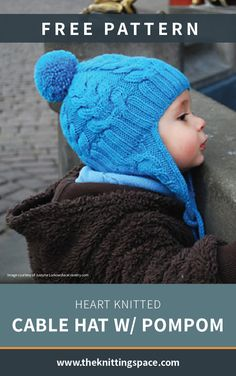 Heart Knitted Cable Hat With PomPom [FREE Knitting Pattern] Keep your preschooler warm this b Diy Knitting Projects, Kids Knitting Patterns, Baby Hat Knitting Pattern, Baby Hat Patterns, Knitting Blogs, Baby Hats Knitting, Knitting For Kids, Free Knitting, Beanie Pattern