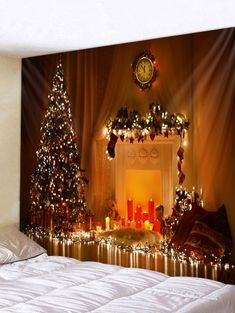 OFF] 2019 Christmas Tree Candle Print Wall Tapestry Art Decoration In Multicolor Christmas Tree Candles, Christmas Tree With Gifts, Christmas Fireplace, Christmas Decorations, Church Decorations, Ceiling Tapestry, Tapestry Bedroom, Inspire Me Home Decor, Hanging Art