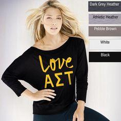 Alpha Sigma Tau Sorority Long-Sleeve Flowy Off-The-Shoulder Fashion Shirt