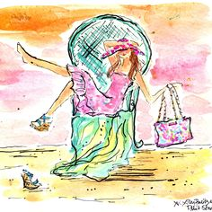 """Lilly P Print Studio - Summer Daydreaming - First Day of Summer. aka National """"Wear Your Lilly"""" Day Lily Pullitzer, Lilly Pulitzer Prints, Love Lily, First Day Of Summer, Heart Art, Flower Art, Watercolor Art, Artsy, Sketches"""