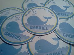 Blue Whale of a Party Theme 3 Favor Tags set by PartyCelebrations, $5.50