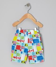 Take a look at this Aqua Flag Swim Trunks - Toddler & Boys by i play on #zulily today!