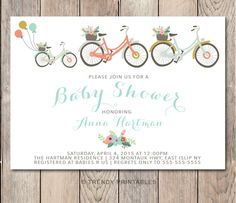 Etsy listing at https://www.etsy.com/listing/226060691/baby-shower-invitation-bicycle-baby