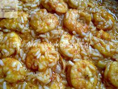 Shrimp Pilafi (Rice or orzo). Greek Cooking, Cooking Time, Cooking Recipes, Appetizer Recipes, Dessert Recipes, Appetizers, Greek Dishes, Greek Recipes, Fajitas