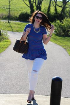 Striped Peplum Top + Distressed White Denim for Spring #peplum #whitejeans #distresseddenim #fashion #style #fashionblogger #styleblogger #outfitinspiration #ootd