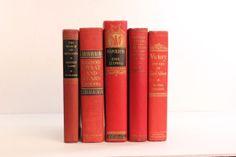 Red Linen Vintage book bundle Decorative by HarvestBookCompany, $34.95