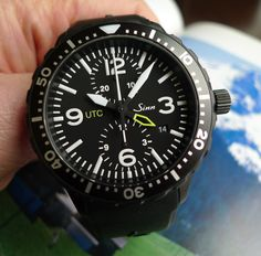 Sinn 757 S UTC Chronograph and second timezone watch, with black tegiment hardened coating.