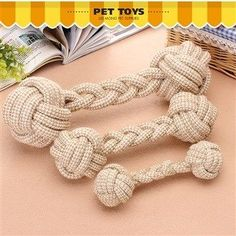 Shop cotton rope dog toy bear teddy toy pet toy bone dental teething toy teeth dog rope bag-mail free shipping online at DinoDirect store.