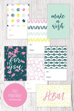 Free Printable Modern Birthday Gift Tags from Paper Crave Happy Birthday Tag, Birthday Tags, Diy Birthday, Birthday Gifts, Free Printable Gift Tags, Printable Planner, Free Printables, Printable Designs, Gift Wrapping
