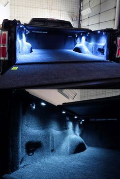 LED truck bed lights - High intensity lights with 6 LED bulbs a piece. Line your truck bed with these to lighten things up. Compatible with all truck makes and models including the Toyota Tundra. Jacked Up Trucks, New Trucks, Cool Trucks, Chevy Trucks, Pickup Trucks, Lifted Chevy, Custom Trucks, Jeep Pickup, Pickup Camper