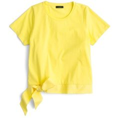 Women's J.crew Side Tie Tee (57 NZD) ❤ liked on Polyvore featuring tops, t-shirts, yellow, boxy t shirt, bow t shirt, yellow t shirt, j crew tops and boxy tee