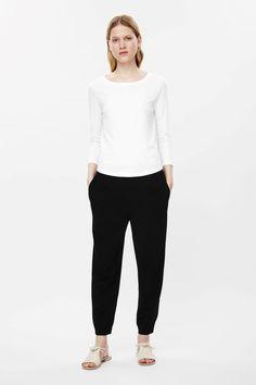 COS Elastic waist & cuff trousers in Black