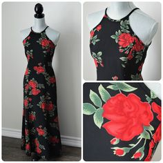 530a6de995df Vintage 90s Queen of Hearts Maxi, Long Prom, Formal, Bridesmaid Dress -  Black, Red, Green - Wedding, Trumpet Hem, Racerback, Fitted, Sexy