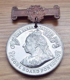 Antique 1901 Queen Victoria London School Board Attendance Medal Attendance, Queen Victoria, Badges, London, Antiques, School, Board, Ebay, Wednesday