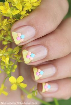 Summer French Manicure Tutorial With Coloured Studs