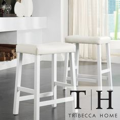 Tribecca Home Nova White Saddle Cushioned Seat 24-inch Barstools | Overstock.com Shopping - Great Deals on Tribecca Home Bar Stools