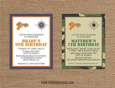 LASER TAG Invitation multiple styles  Full by BabadooStationery, $14.00