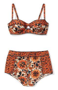 Vintage Floral Print Cami Bikini Set aka orange undies
