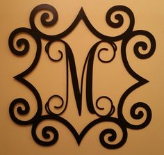 Outdoor Metal Monogram Letters Metal Monogram Solar Light Wall Art Hanging Decor Scrollwork Frame