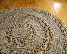 6 ft Crochet jute circle rug / 100% naturals by HandmadeByzVyara