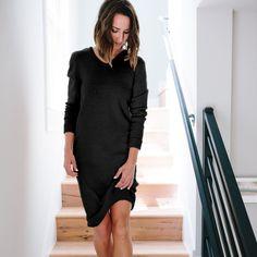 The Vee Sweater Dress - Black