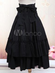 [$43.99] Cotton Black Polka Ruffled Lace Bottom Lolita Skirt