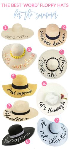 Sandy a la Mode rounds up 9 of the cutest word floppy hats out there, perfect for your Summer vacations, pool parties and outfits.