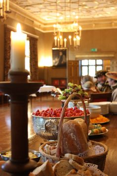 Fruit and Bread Buffet table for a Tudor themed event.