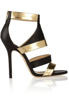 Jimmy Choo Besso textured and mirrored-leather sandals   NET-A-PORTER