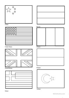 Flags of countries worksheet - Free ESL printable worksheets made by teachers Around The World Crafts For Kids, Around The World Theme, Flags Of The World, World Country Flags, Flag Country, Worksheets For Kids, Printable Worksheets, Free Printable, World Flags Printable