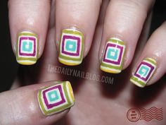 Geometric nail art. I never do my nails, but if I were to...this would be it - nailed it...