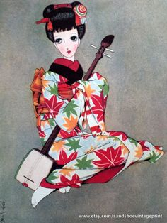 1960s JUNICHI NAKAHARA Big Eyed Girl in KIMONO with Shamisen Print Perfect for Framing by sandshoevintageprint on Etsy