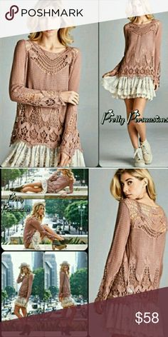 BEAUTIFUL MAUVE LACE BLOUSE PRETTY FALL ITEM FOR YOUR WARDROBE CAN BE WORN WITH ALL THE NEW VEST PONCHOS LIGHTWEIGHT PRETTY LACE ALL OVER Tank top grey lace extended dress available as seen in pictures never worn either one pretty pursausions Sweaters