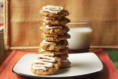 Carrot Oatmeal Cookies with Cream Cheese Glaze