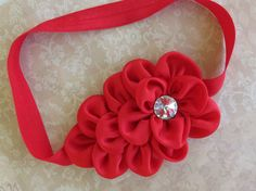 Baby Headband..Red Headband..Newborn Headband..Toddler Headband..Satin Headband..Christmas Headband. $9.00, via Etsy.
