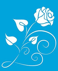 "Amazon.com: 8.3"" x 6.8"" (21cm x 17cm) Reusable Flexible Plastic Stencil for Graphical Design Airbrush Decorating Wall Furniture Fabric Decorations Drawing Drafting Template - Rose Flower Leaves"