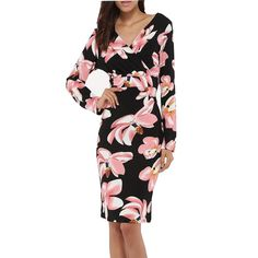 Womens Fashion Floral Print Elegant V Neck Long Sleeve Autumn and Winter Casual Party Sheath Dress Bright Colourful Haute Couture Women Fashion Rare Nice Beautiful Pretty Classy Vintage Style Girl Chic Stylish Inspiration Idea European Wear Clothing Casual Awesome Cool Gorgeous Outfit Look Sexy Street