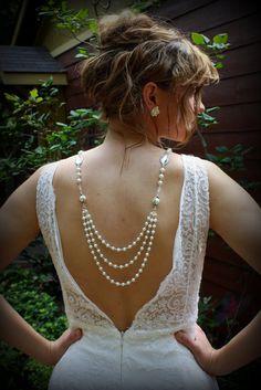 Backdrop Necklace-Pearl Necklace-Wedding Jewelry-Vintage Wedding-Bridal Necklace-Wedding Necklace-Dream Day Designs. $119.00, via Etsy.