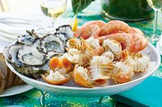 This fabulous seafood platter is best served with tangy mignonette sauce.