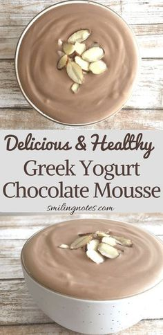 Easy and healthy Greek Yogurt Chocolate mousse - a delicious and healthy dessert.,Healthy, Many of these healthy H E A L T H Y . Easy and healthy Greek Yogurt Chocolate mousse - a delicious and healthy dessert that you can enjoy without feel. Healthy Desayunos, Healthy Sweets, Healthy Dessert Recipes, Healthy Drinks, Gourmet Recipes, Healthy Yogurt, Healthy Eating, Easy Healthy Deserts, Drink Recipes